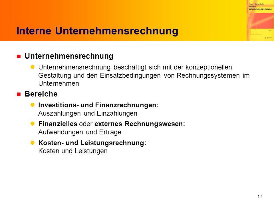 1.5 Interne Unternehmensrechnung n Interne Unternehmensrechnung Rechnungssysteme, die für unternehmensinterne Benutzer (Manager als Entscheidungsträger im Unternehmen) konzipiert sind Investitions- und Finanzrechnungen Kosten- und Leistungsrechnung Gestaltung obliegt dem Management Zielkonflikte möglich