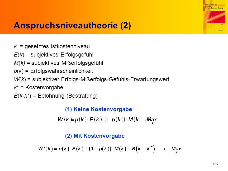 7.12 Anspruchsniveautheorie (2) k = gesetztes Istkostenniveau E(k) = subjektives Erfolgsgefühl M(k) = subjektives Mißerfolgsgefühl p(k) = Erfolgswahrs