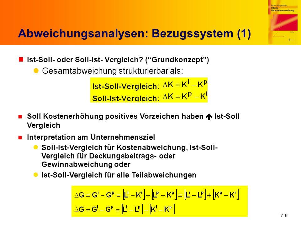 7.15 Abweichungsanalysen: Bezugssystem (1) nIst-Soll- oder Soll-Ist- Vergleich? (Grundkonzept) Gesamtabweichung strukturierbar als: Soll Kostenerhöhun
