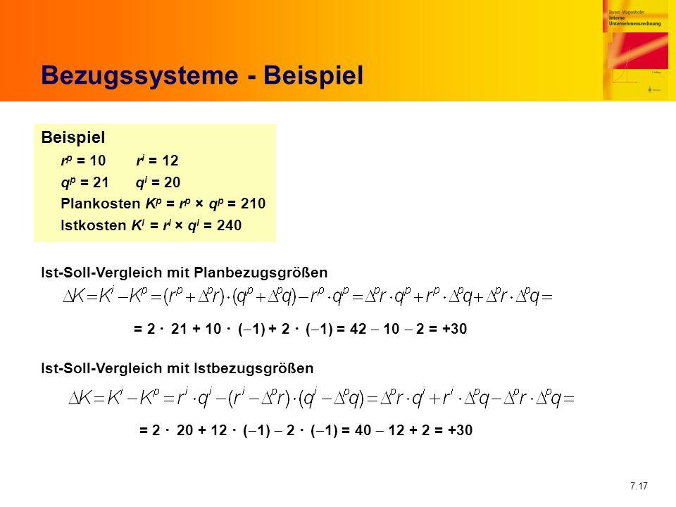 7.17 Bezugssysteme - Beispiel Beispiel r p = 10 r i = 12 q p = 21 q i = 20 Plankosten K p = r p × q p = 210 Istkosten K i = r i × q i = 240 Ist-Soll-V