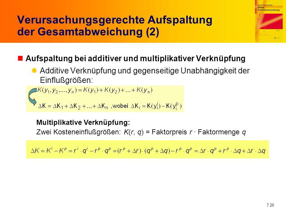 7.20 Verursachungsgerechte Aufspaltung der Gesamtabweichung (2) nAufspaltung bei additiver und multiplikativer Verknüpfung Additive Verknüpfung und ge