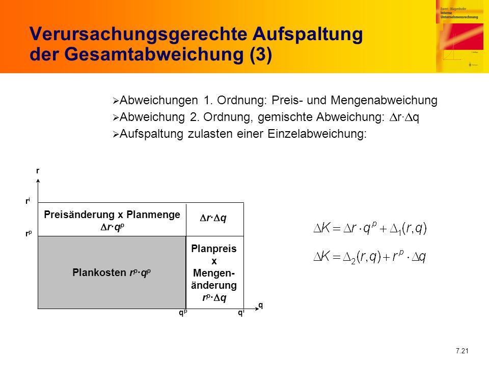 7.21 Verursachungsgerechte Aufspaltung der Gesamtabweichung (3) Abweichungen 1. Ordnung: Preis- und Mengenabweichung Abweichung 2. Ordnung, gemischte