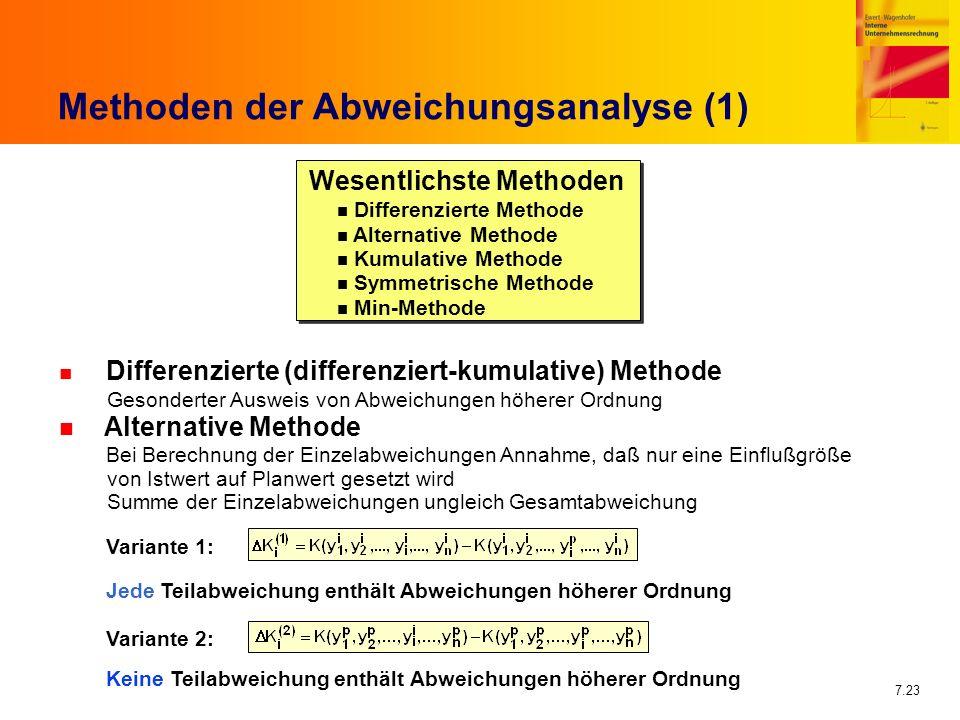 7.23 Methoden der Abweichungsanalyse (1) Wesentlichste Methoden n Differenzierte (differenziert-kumulative) Methode Gesonderter Ausweis von Abweichung