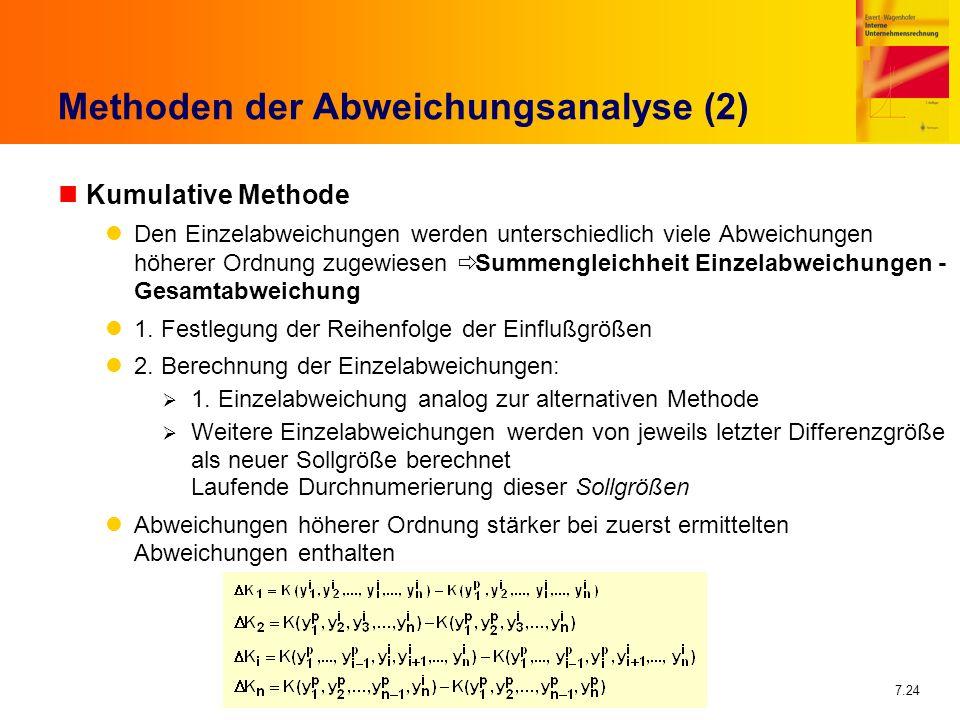 7.24 Methoden der Abweichungsanalyse (2) nKumulative Methode Den Einzelabweichungen werden unterschiedlich viele Abweichungen höherer Ordnung zugewies