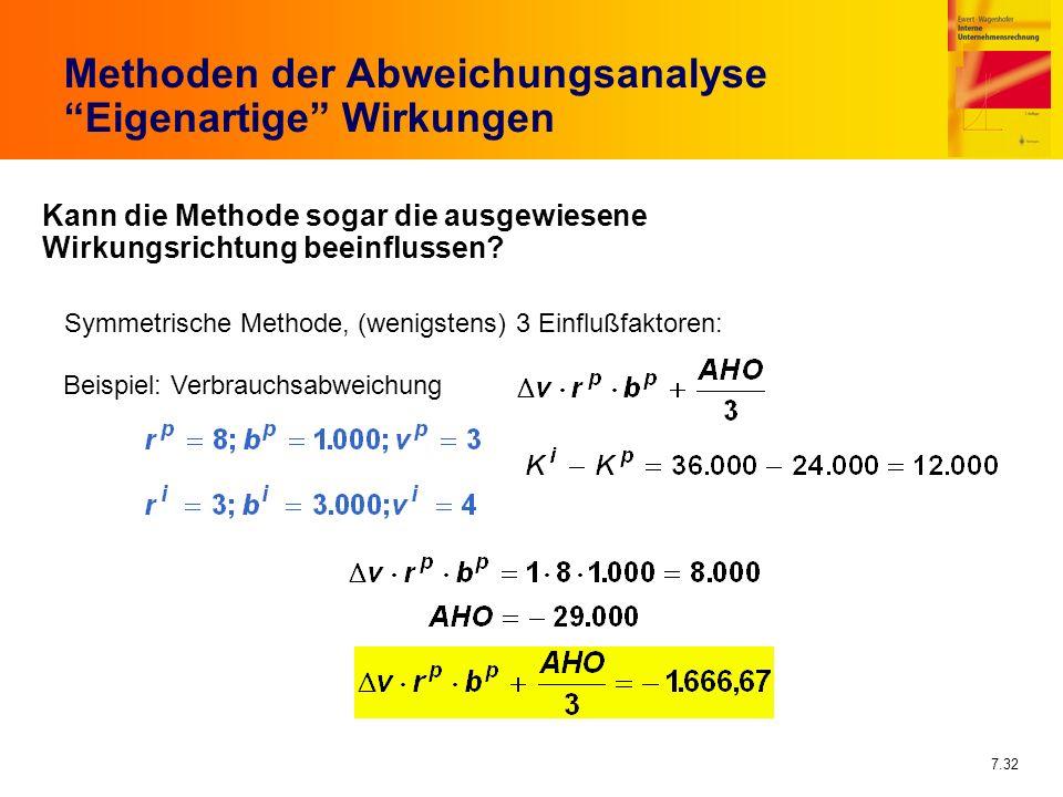 7.32 Methoden der Abweichungsanalyse Eigenartige Wirkungen Kann die Methode sogar die ausgewiesene Wirkungsrichtung beeinflussen? Symmetrische Methode