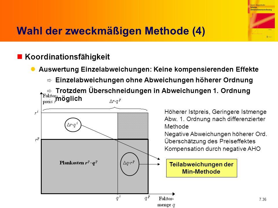 7.36 Wahl der zweckmäßigen Methode (4) nKoordinationsfähigkeit Auswertung Einzelabweichungen: Keine kompensierenden Effekte Einzelabweichungen ohne Ab