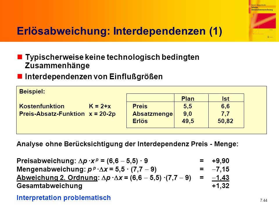 7.44 Erlösabweichung: Interdependenzen (1) nTypischerweise keine technologisch bedingten Zusammenhänge nInterdependenzen von Einflußgrößen Beispiel: P