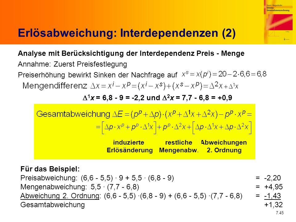 7.45 Erlösabweichung: Interdependenzen (2) Analyse mit Berücksichtigung der Interdependenz Preis - Menge Annahme: Zuerst Preisfestlegung Preiserhöhung