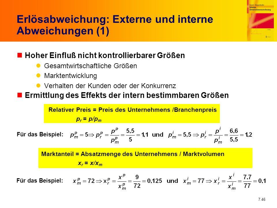 7.46 Erlösabweichung: Externe und interne Abweichungen (1) nHoher Einfluß nicht kontrollierbarer Größen Gesamtwirtschaftliche Größen Marktentwicklung