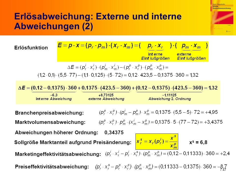 7.47 Erlösabweichung: Externe und interne Abweichungen (2) Erlösfunktion Branchenpreisabweichung: Marktvolumensabweichung: Abweichungen höherer Ordnun