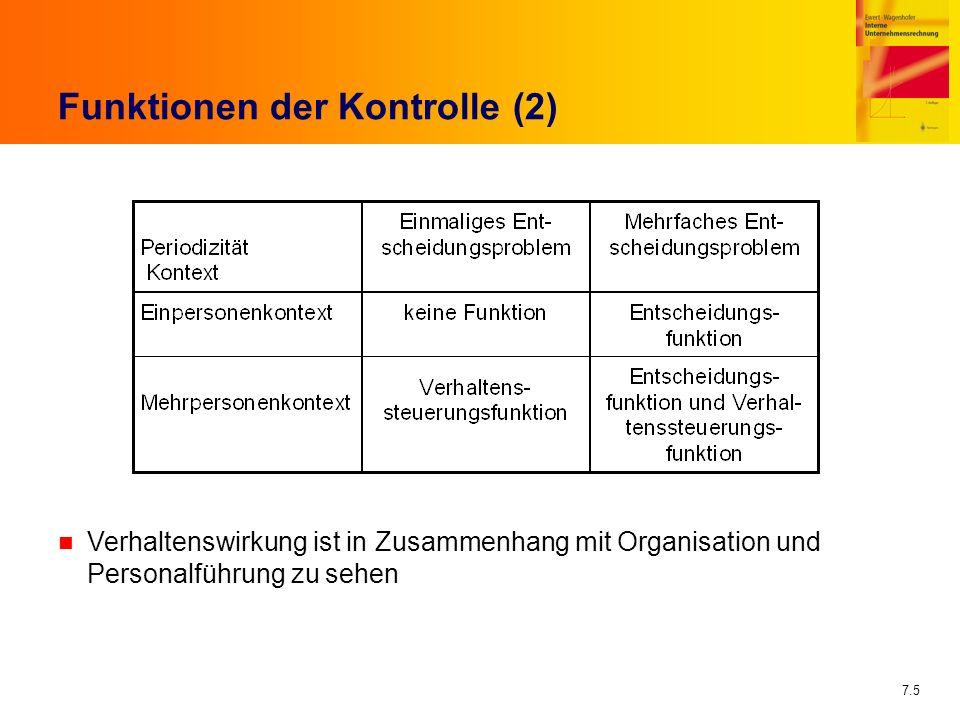 7.5 Funktionen der Kontrolle (2) n Verhaltenswirkung ist in Zusammenhang mit Organisation und Personalführung zu sehen