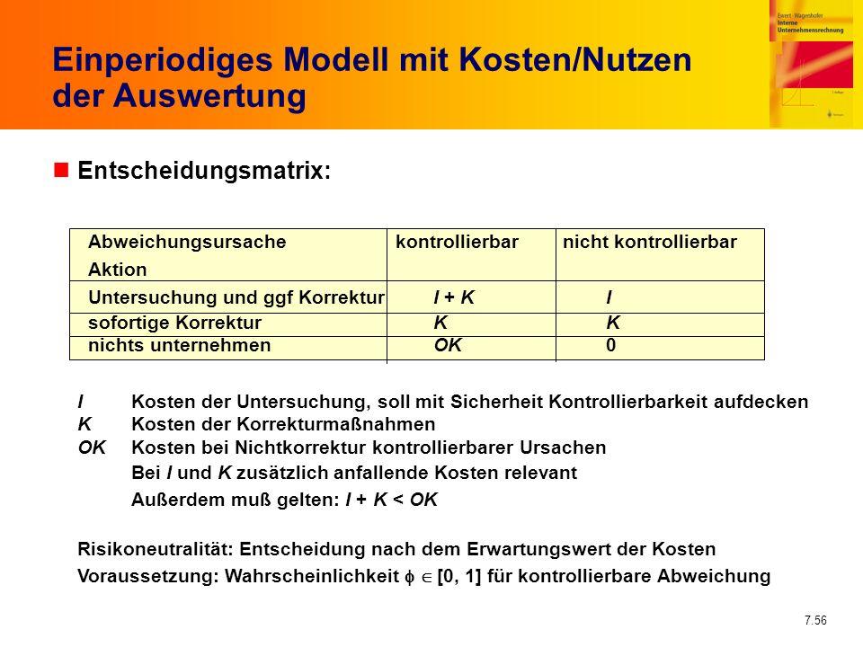 7.56 Einperiodiges Modell mit Kosten/Nutzen der Auswertung nEntscheidungsmatrix: I Kosten der Untersuchung, soll mit Sicherheit Kontrollierbarkeit auf