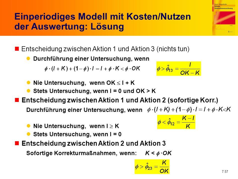 7.57 Einperiodiges Modell mit Kosten/Nutzen der Auswertung: Lösung nEntscheidung zwischen Aktion 1 und Aktion 3 (nichts tun) Durchführung einer Unters