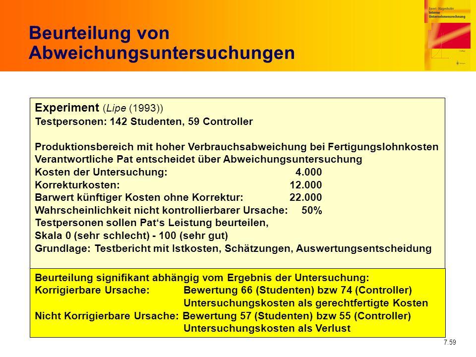 7.59 Beurteilung von Abweichungsuntersuchungen Experiment (Lipe (1993)) Testpersonen: 142 Studenten, 59 Controller Produktionsbereich mit hoher Verbra