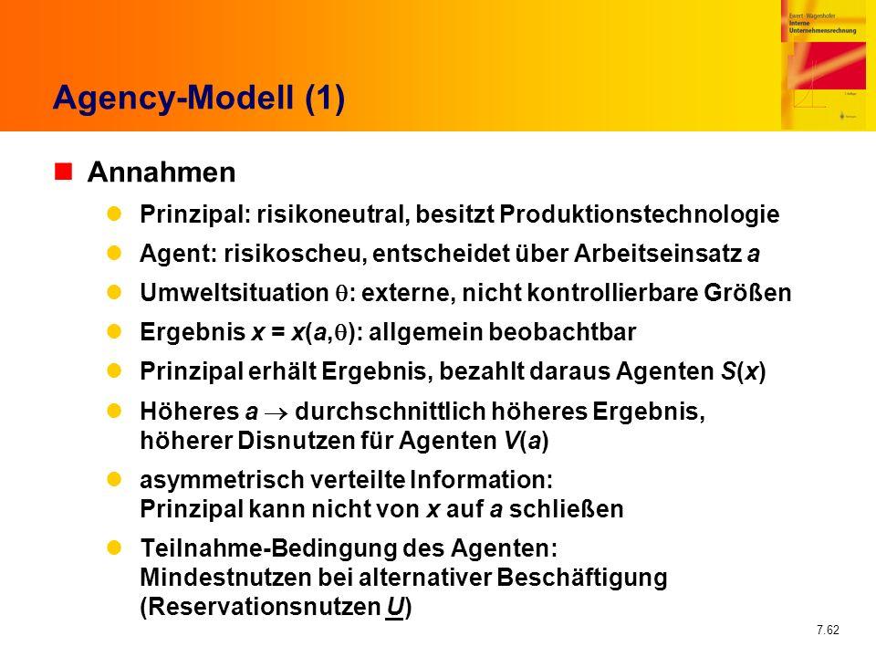 7.62 Agency-Modell (1) nAnnahmen Prinzipal: risikoneutral, besitzt Produktionstechnologie Agent: risikoscheu, entscheidet über Arbeitseinsatz a Umwelt