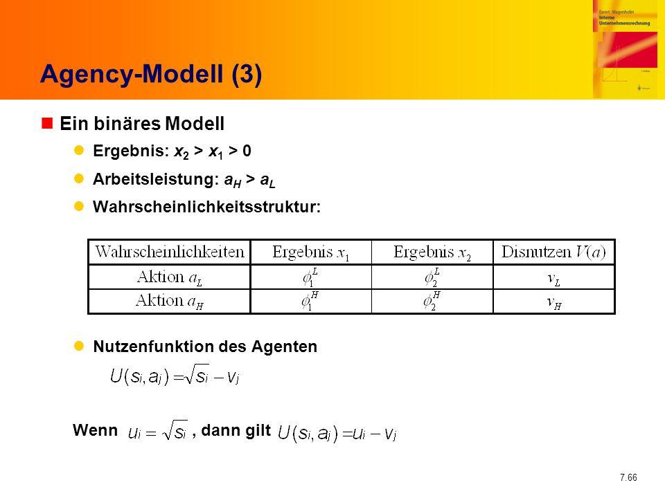 7.66 Agency-Modell (3) nEin binäres Modell Ergebnis: x 2 > x 1 > 0 Arbeitsleistung: a H > a L Wahrscheinlichkeitsstruktur: Nutzenfunktion des Agenten