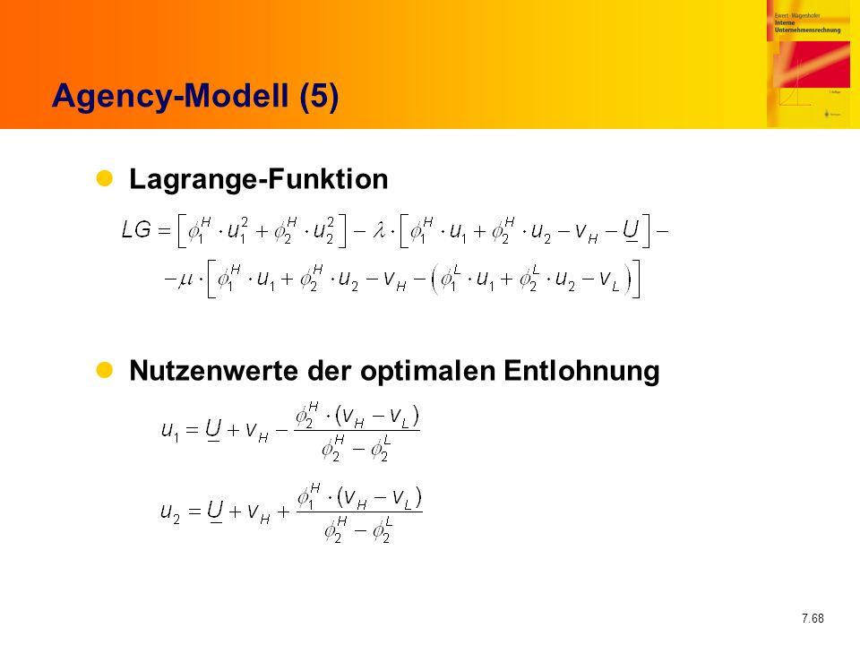 7.68 Agency-Modell (5) Lagrange-Funktion Nutzenwerte der optimalen Entlohnung