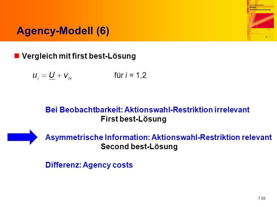 7.69 Agency-Modell (6) nVergleich mit first best-Lösung für i = 1,2 Bei Beobachtbarkeit: Aktionswahl-Restriktion irrelevant First best-Lösung Asymmetr