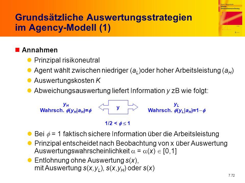 7.72 Grundsätzliche Auswertungsstrategien im Agency-Modell (1) nAnnahmen Prinzipal risikoneutral Agent wählt zwischen niedriger (a L )oder hoher Arbei