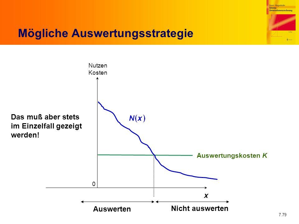 7.79 Mögliche Auswertungsstrategie Nutzen Kosten 0 Auswertungskosten K Auswerten Nicht auswerten Das muß aber stets im Einzelfall gezeigt werden!