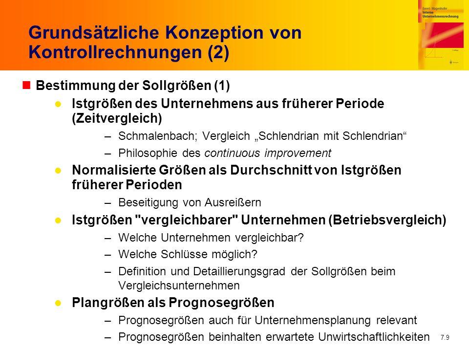 7.9 Grundsätzliche Konzeption von Kontrollrechnungen (2) nBestimmung der Sollgrößen (1) Istgrößen des Unternehmens aus früherer Periode (Zeitvergleich