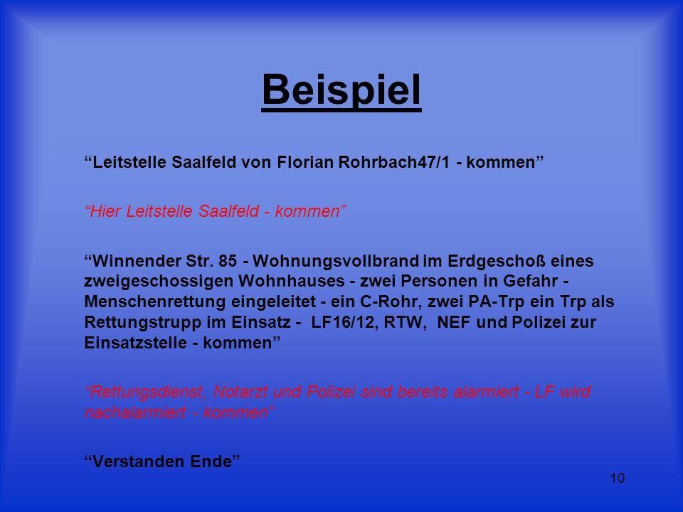 10 Beispiel Leitstelle Saalfeld von Florian Rohrbach47/1 - kommen Hier Leitstelle Saalfeld - kommen Winnender Str. 85 - Wohnungsvollbrand im Erdgescho