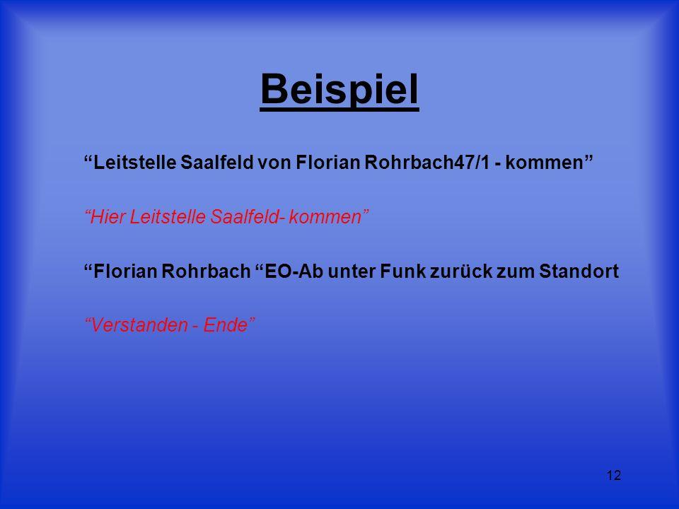 12 Beispiel Leitstelle Saalfeld von Florian Rohrbach47/1 - kommen Hier Leitstelle Saalfeld- kommen Florian Rohrbach EO-Ab unter Funk zurück zum Stando