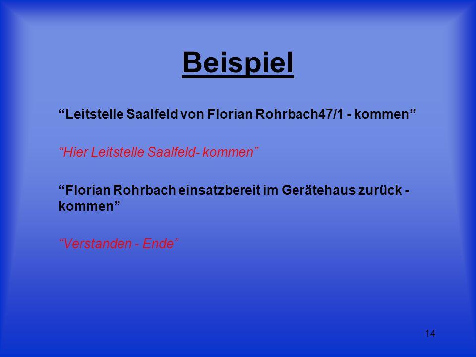 14 Beispiel Leitstelle Saalfeld von Florian Rohrbach47/1 - kommen Hier Leitstelle Saalfeld- kommen Florian Rohrbach einsatzbereit im Gerätehaus zurück