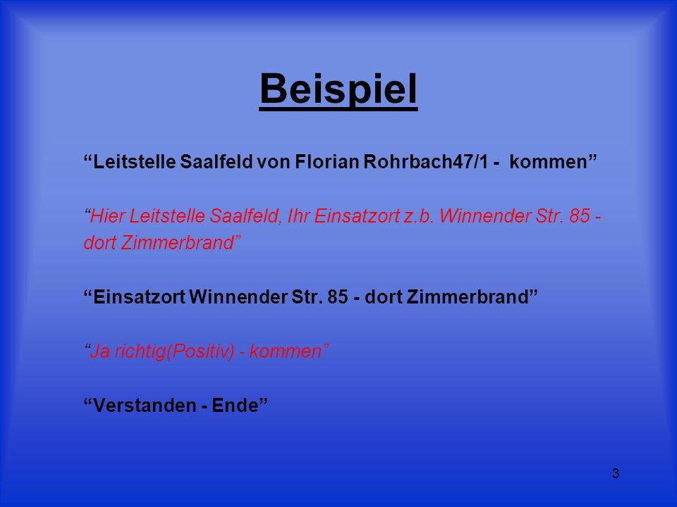 3 Beispiel Leitstelle Saalfeld von Florian Rohrbach47/1 - kommen Hier Leitstelle Saalfeld, Ihr Einsatzort z.b. Winnender Str. 85 - dort Zimmerbrand Ei