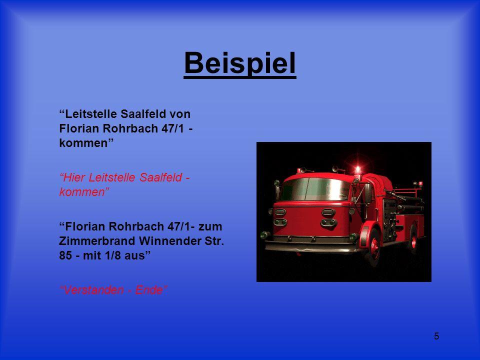 5 Beispiel Leitstelle Saalfeld von Florian Rohrbach 47/1 - kommen Hier Leitstelle Saalfeld - kommen Florian Rohrbach 47/1- zum Zimmerbrand Winnender S