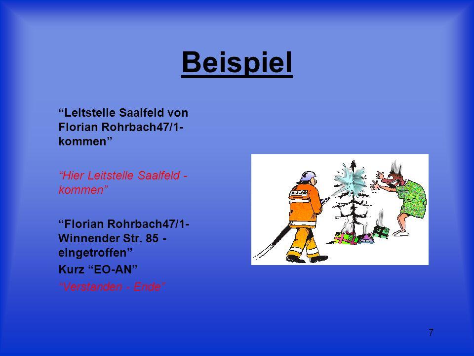 7 Beispiel Leitstelle Saalfeld von Florian Rohrbach47/1- kommen Hier Leitstelle Saalfeld - kommen Florian Rohrbach47/1- Winnender Str. 85 - eingetroff