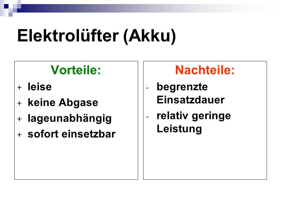 Elektrolüfter (Kabel) Vorteile: + leise + keine Abgase + lageunabhängig Nachteile: - Generator erforderlich - um ca. 30% geringere Leistung als L. mit