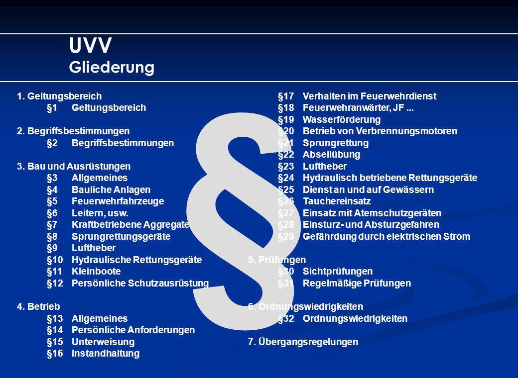 § UVV Gliederung 1. Geltungsbereich §1Geltungsbereich 2. Begriffsbestimmungen §2Begriffsbestimmungen 3. Bau und Ausrüstungen §3Allgemeines §4Bauliche
