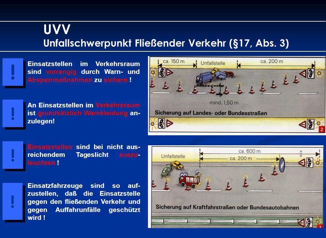 UVV Unfallschwerpunkt Fließender Verkehr (§17, Abs. 3) Einsatzstellen im Verkehrsraum sind vorrangig durch Warn- und Absperrmaßnahmen zu sichern ! ! !
