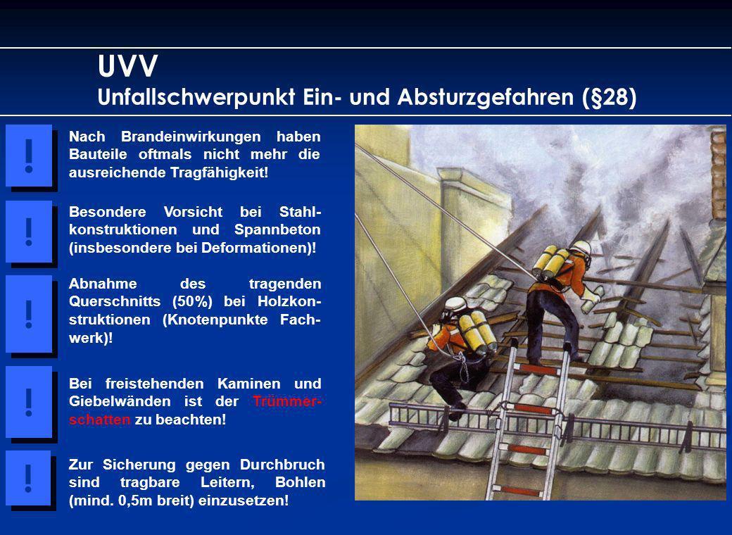 UVV Unfallschwerpunkt Ein- und Absturzgefahren (§28) Nach Brandeinwirkungen haben Bauteile oftmals nicht mehr die ausreichende Tragfähigkeit! ! ! Beso