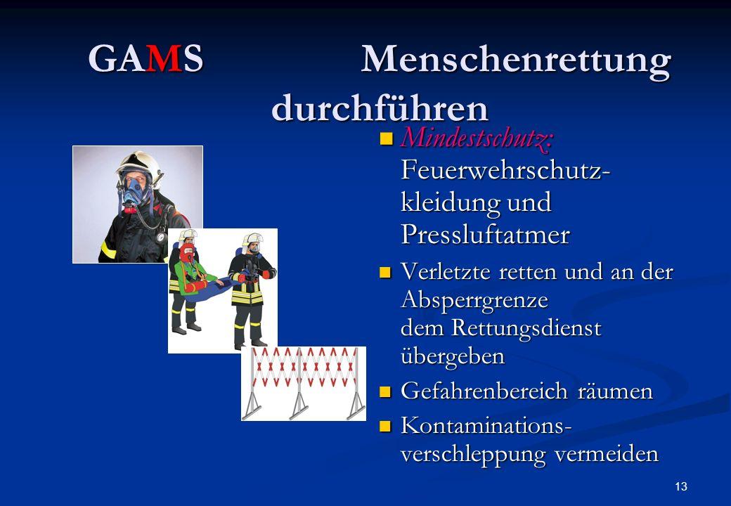 12 GAMSAbsperren und Absichern Zündquellen vermeiden Brandschutz vorbereiten meist 3-fach: Wasser, Schaum, Pulver Brandbekämpfung durchführen ggf. zun