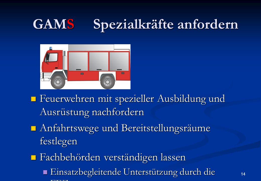 13 GAMSMenschenrettung durchführen Mindestschutz: Feuerwehrschutz- kleidung und Pressluftatmer Verletzte retten und an der Absperrgrenze dem Rettungsd