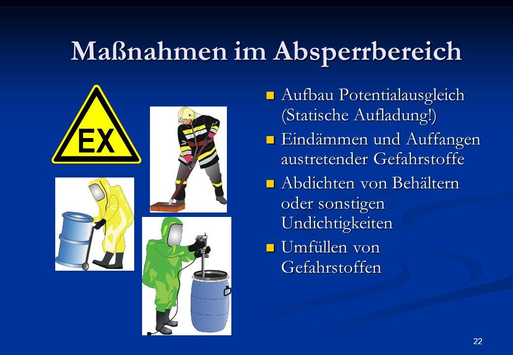 21 Maßnahmen im Absperrbereich Aufbau / Vervollständigung des dreifachen Brandschutzes an der Grenze des Gefahrenbereiches Niederschlagen von Gasen un