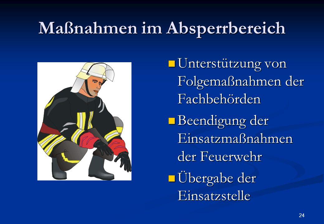 23 Maßnahmen im Absperrbereich Grob- dekontamination Personen / Gerät Dekontamina- tionsplatz Dekon-Einheit