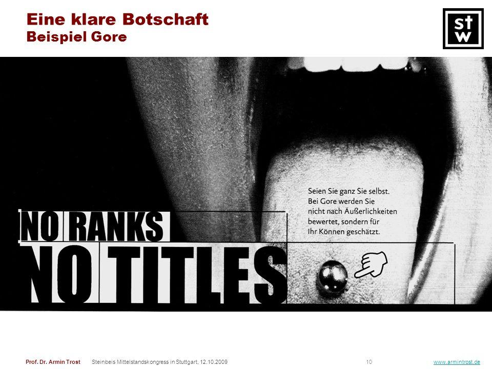 10Prof. Dr. Armin TrostSteinbeis Mittelstandskongress in Stuttgart, 12.10.2009 www.armintrost.de Eine klare Botschaft Beispiel Gore