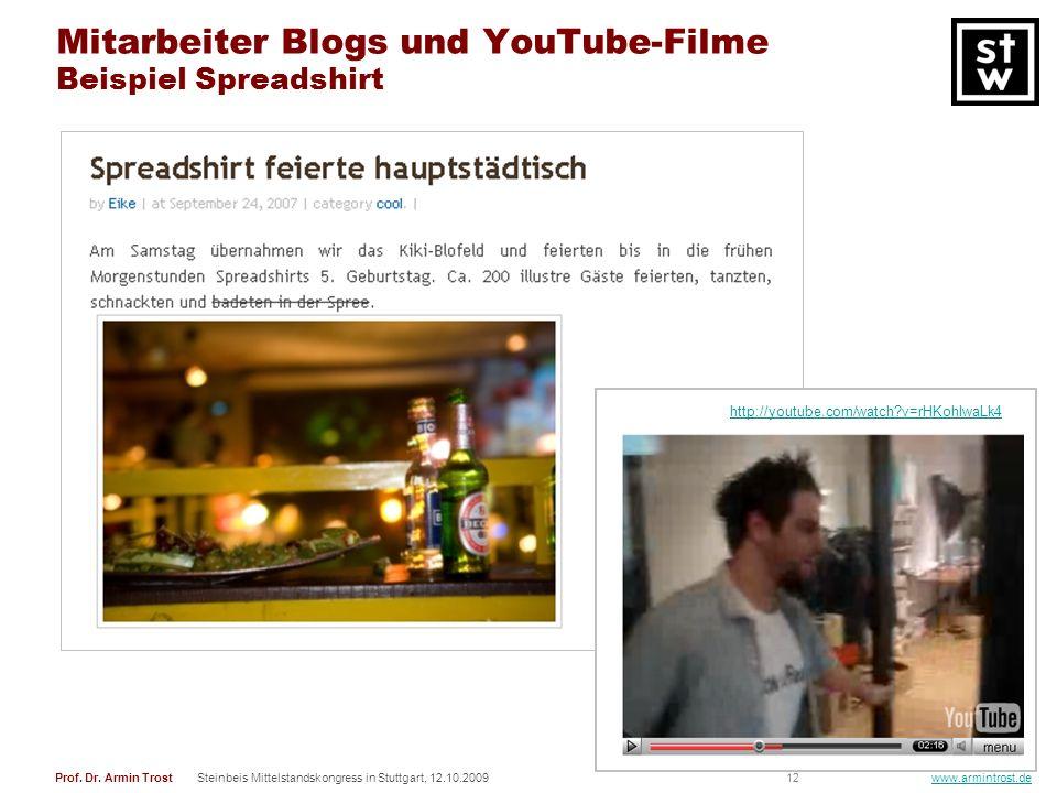 12Prof. Dr. Armin TrostSteinbeis Mittelstandskongress in Stuttgart, 12.10.2009 www.armintrost.de Mitarbeiter Blogs und YouTube-Filme Beispiel Spreadsh