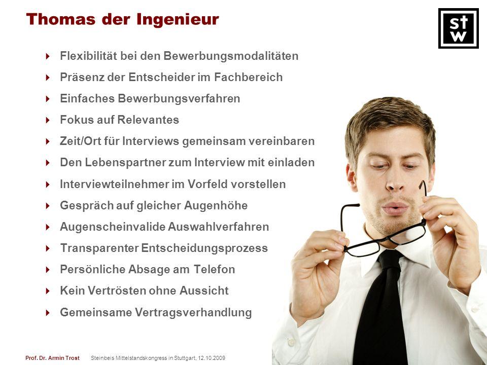 22Prof. Dr. Armin TrostSteinbeis Mittelstandskongress in Stuttgart, 12.10.2009 www.armintrost.de Thomas der Ingenieur Flexibilität bei den Bewerbungsm