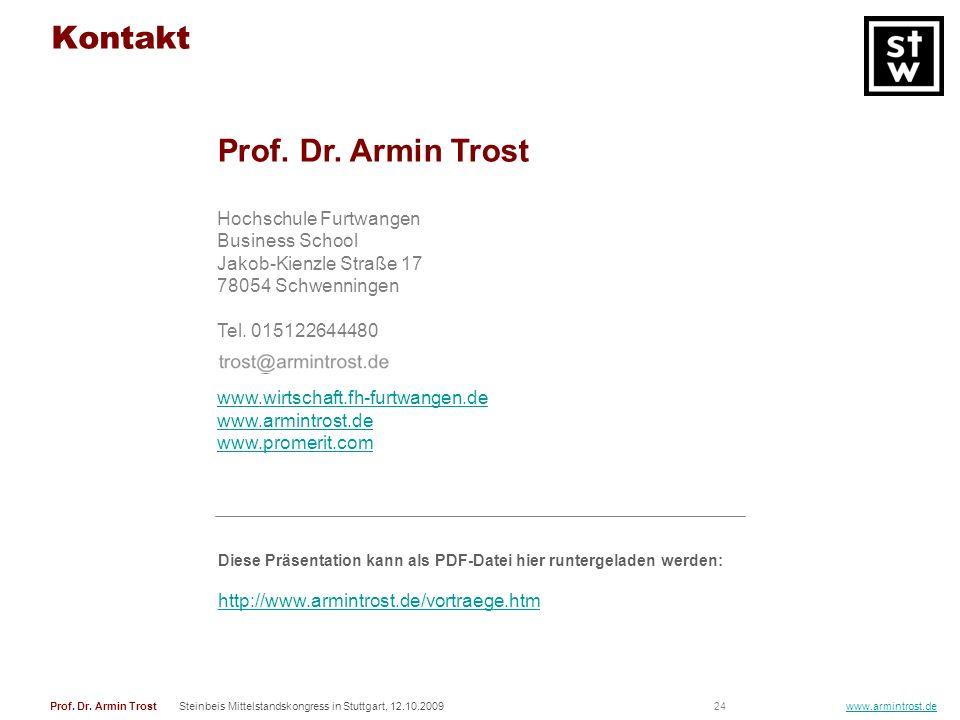 24Prof. Dr. Armin TrostSteinbeis Mittelstandskongress in Stuttgart, 12.10.2009 www.armintrost.de Prof. Dr. Armin Trost Hochschule Furtwangen Business