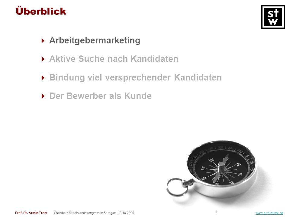 3Prof. Dr. Armin TrostSteinbeis Mittelstandskongress in Stuttgart, 12.10.2009 www.armintrost.de Überblick Arbeitgebermarketing Aktive Suche nach Kandi