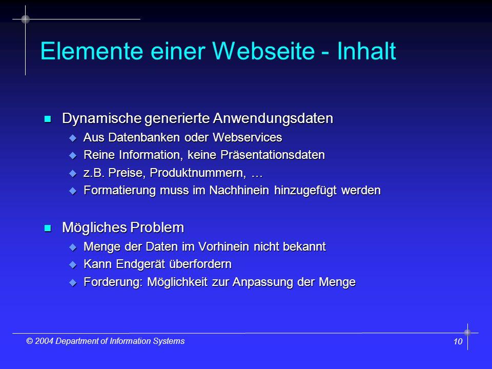 10 © 2004 Department of Information Systems Elemente einer Webseite - Inhalt n Dynamische generierte Anwendungsdaten u Aus Datenbanken oder Webservices u Reine Information, keine Präsentationsdaten u z.B.