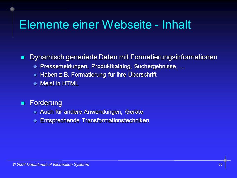 11 © 2004 Department of Information Systems Elemente einer Webseite - Inhalt n Dynamisch generierte Daten mit Formatierungsinformationen u Pressemeldungen, Produktkatalog, Suchergebnisse, … u Haben z.B.
