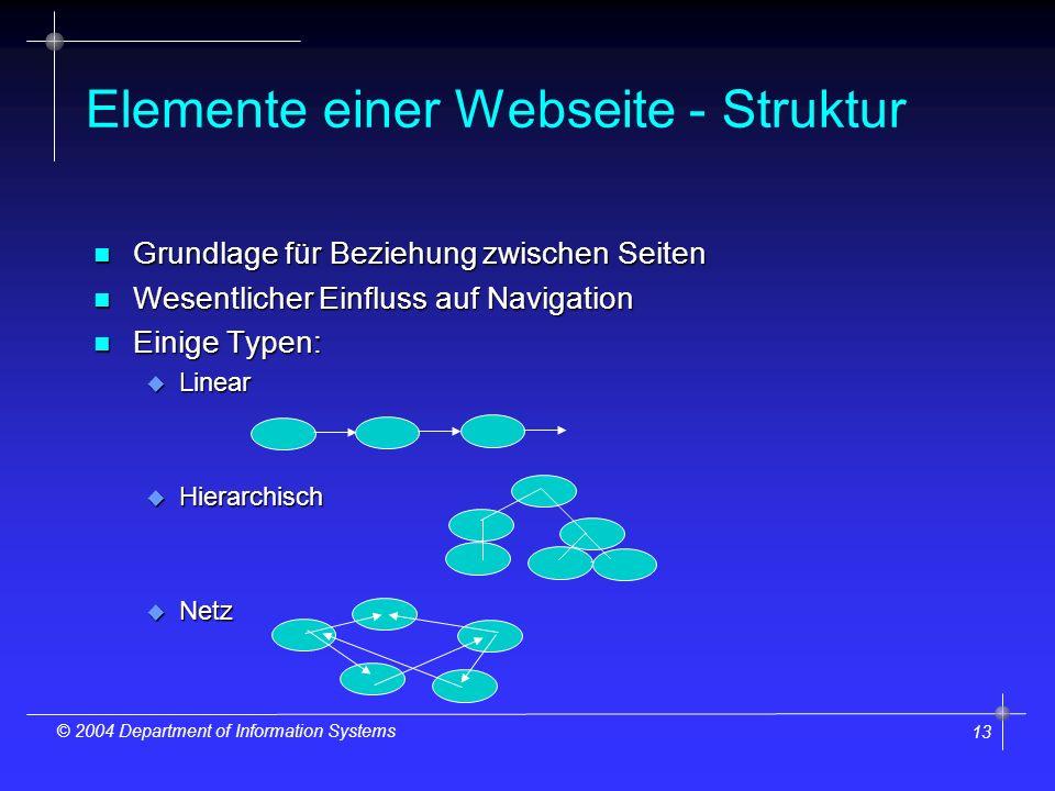 13 © 2004 Department of Information Systems Elemente einer Webseite - Struktur n Grundlage für Beziehung zwischen Seiten n Wesentlicher Einfluss auf Navigation n Einige Typen: u Linear u Hierarchisch u Netz
