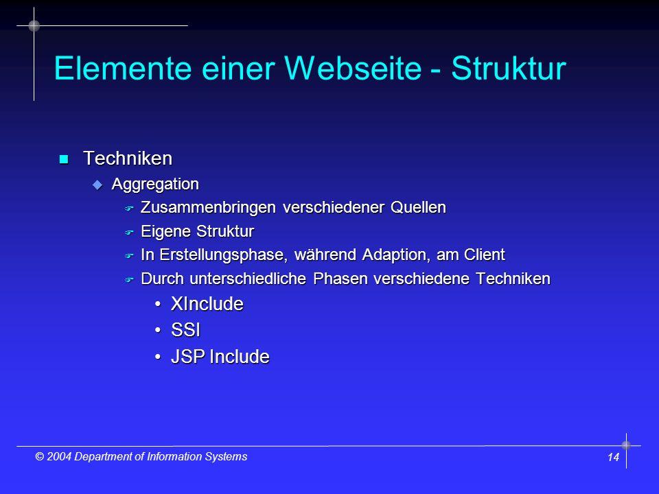 14 © 2004 Department of Information Systems Elemente einer Webseite - Struktur n Techniken u Aggregation F Zusammenbringen verschiedener Quellen F Eigene Struktur F In Erstellungsphase, während Adaption, am Client F Durch unterschiedliche Phasen verschiedene Techniken XIncludeXInclude SSISSI JSP IncludeJSP Include