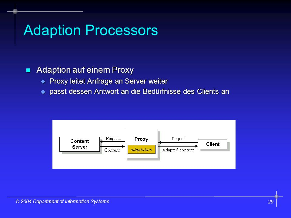 29 © 2004 Department of Information Systems Adaption Processors n Adaption auf einem Proxy u Proxy leitet Anfrage an Server weiter u passt dessen Antwort an die Bedürfnisse des Clients an