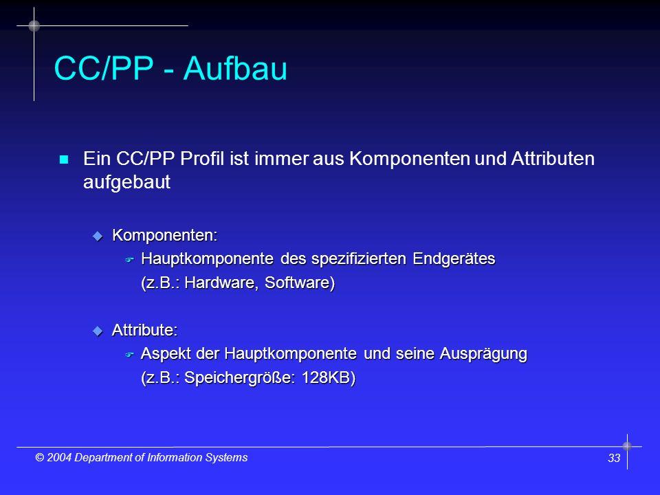 33 © 2004 Department of Information Systems CC/PP - Aufbau n n Ein CC/PP Profil ist immer aus Komponenten und Attributen aufgebaut u Komponenten: F Hauptkomponente des spezifizierten Endgerätes (z.B.: Hardware, Software) u Attribute: F Aspekt der Hauptkomponente und seine Ausprägung (z.B.: Speichergröße: 128KB)